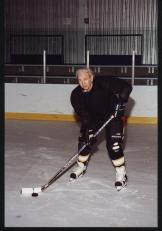 """Billy"" Demish plays hockey in Medicine Hat. This photo was taken a few years ago when Bill was in his mid-70s, playing for an old timers team."